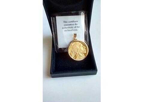 24K Gold Indian Head/Buffalo $50 Coin Pendant