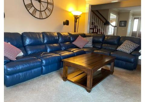 Large Navy Leather Sectional
