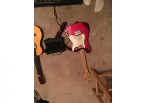 Kids electric guitar and speaker