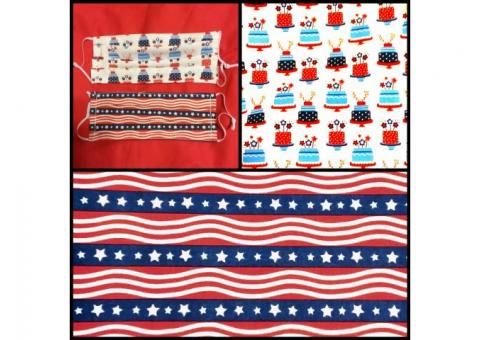 Patriotic Protective Face Coverings, Adult And Children's Sizes